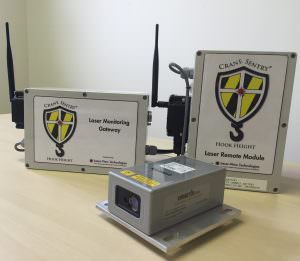Crane Sentry Hook Height featuring Dimetix laser distance sensors includes a laser remote module and laser monitoring gateway