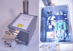 laser distance sensor in a protective enclosure for high heat enviroment